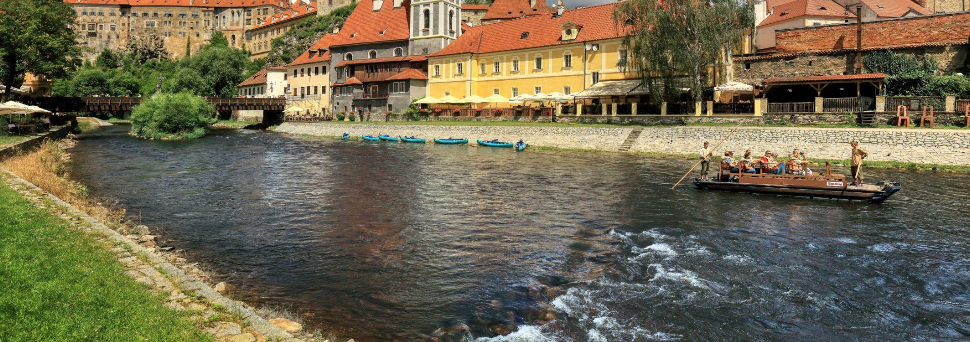 Wooden rafts on the Vltava River